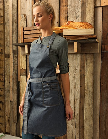 Premier Workwear Latzschürze im Waxed Look one Size