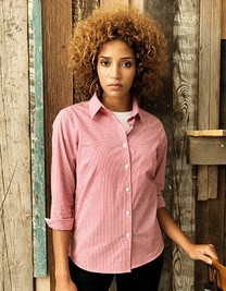 Premier Ladies Microcheck (Gingham) Long Sleeve Shirt