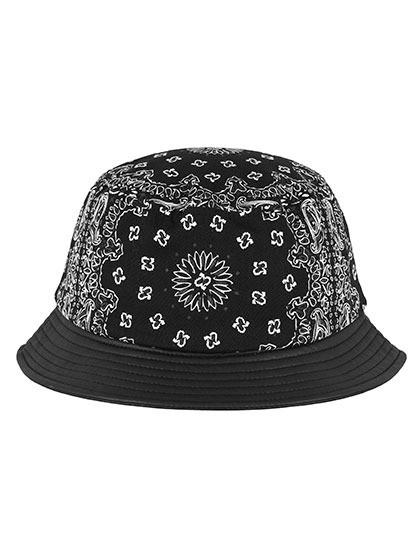FLEXFIT Bandana Leather Imitation Brim Bucket Hat