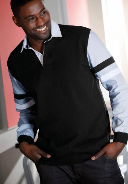 Kariban Mens Striped Sleeves Rugby Polo Rugby-Polohemd mit gestreiften Ärmeln