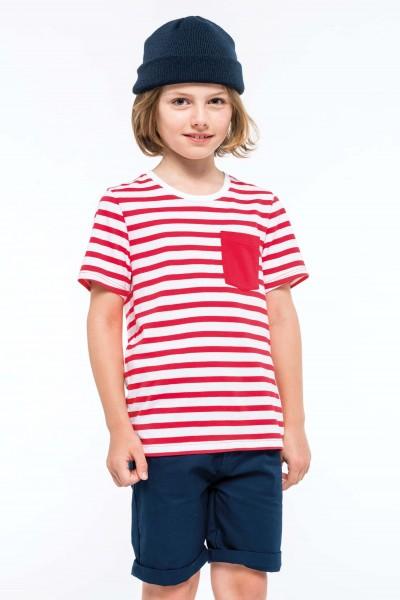 Kariban Gestreiftes Kurzarm-T-Shirt für Kinder