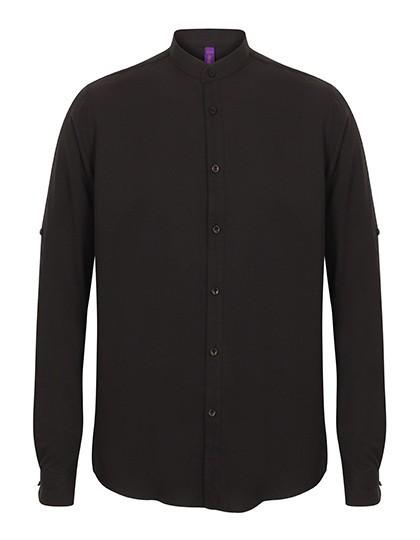 Henbury Herren Mandarin Shirt mit aufrollbaren Ärmeln