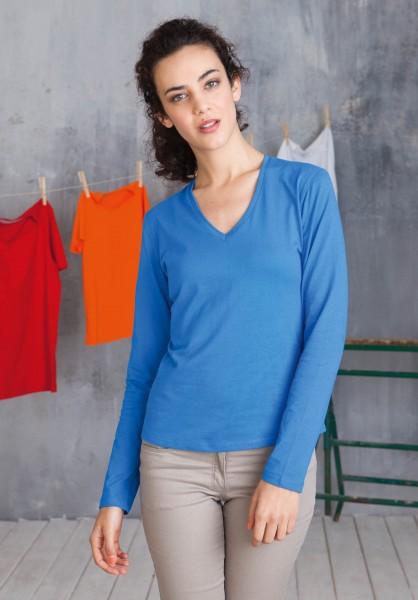 Kariban Damen Langarm T-Shirt mit V-Ausschnitt