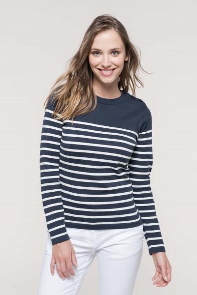 Kariban Pullover im Marine-Stil für Damen