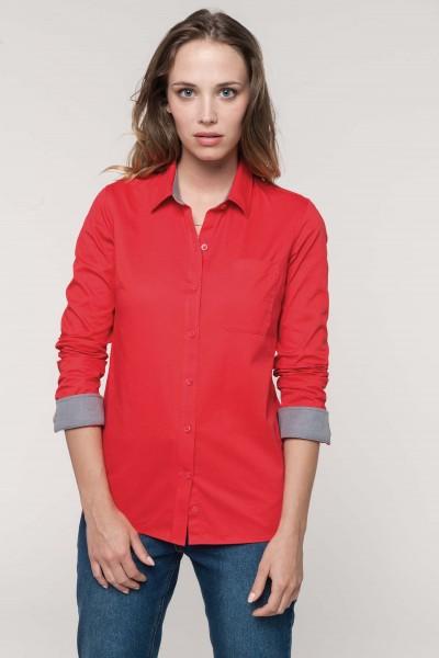 Kariban Langarm-Baumwollhemd für Damen